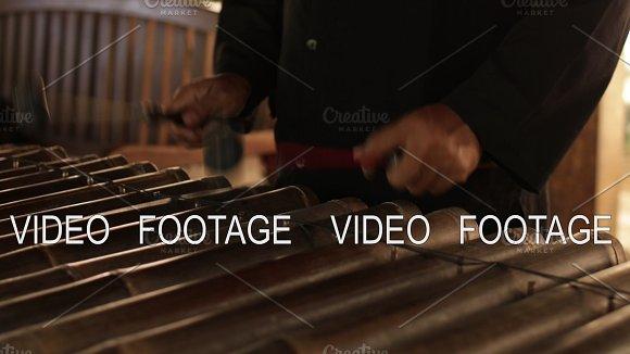 Asian Indonesian Balinese Musician Gamelan Instrument Closeup Hands Playing Not Edited Raw File