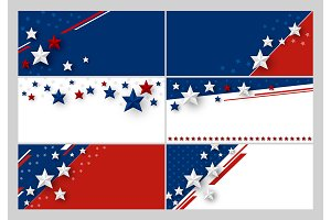 Set of USA banner background