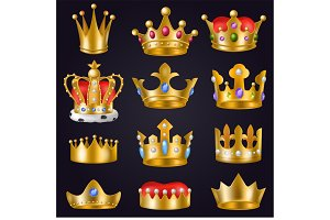 Crown vector golden royal jewelry symbol of king queen and princess illustration sign of crowning prince authority and crown jeweles set isolated on background