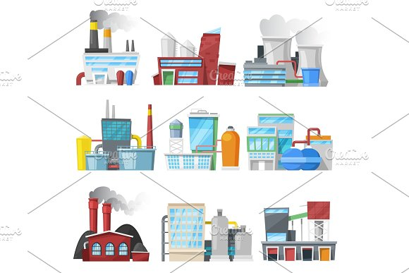 Factory Vector Industrial Building Or Manufacture And Manufacturing Construction Producing Energy Or Electricity Illustration Set Of Industry Or Engineering Power Isolated On White Background