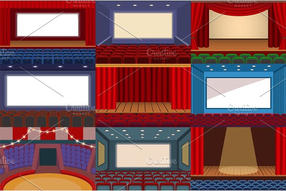 Theater Vector Theatre Stage And Theatrical Opera Performance Illustration Theatrically Set Of Cinema Interior And Entertainment Show With Curtains Isolated On White Background