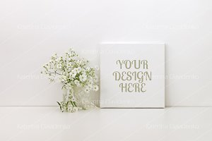 Square canvas mockup, white flowers