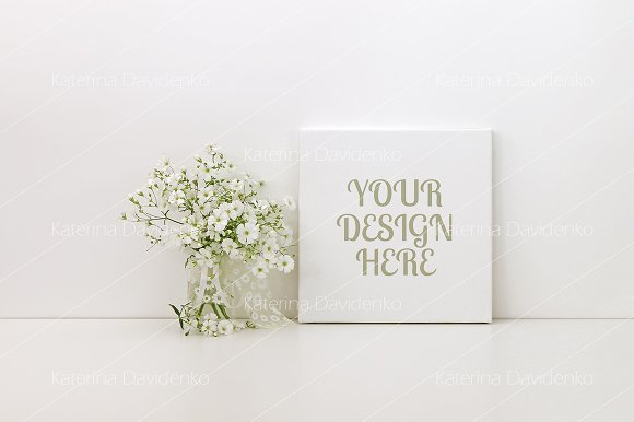 Square Canvas Mockup White Flowers