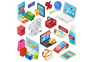 Online shopping vector e-commerce technology with digital payment in internet shop and pos terminal for credit card in store illustration set of ecommerce isometric icons isolated on white background