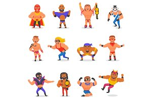 Wrestler vector masked man character and masking luchador in wrestling fight illustration set of wrestle sportsman in costume isolated on white background