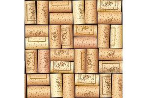 Wine bottle cork. Seamless pattern.