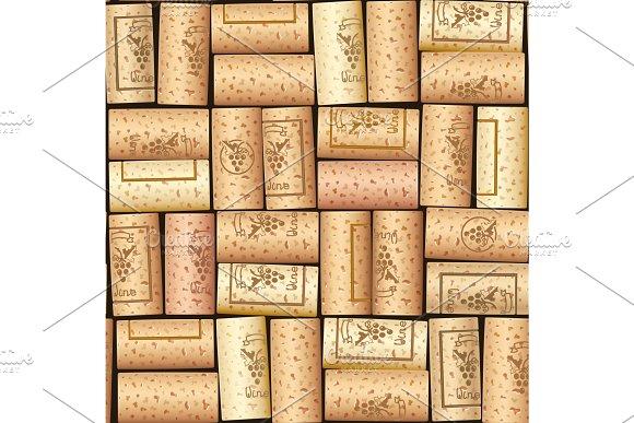 Wine Bottle Cork Seamless Pattern