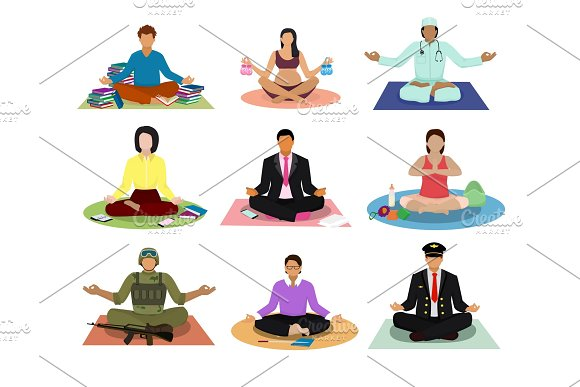Meditation Vector Meditating People Practice Yoga And Characters Of Pregnant Woman Or Businessman Meditate In Lotus Position Illustration Set Of Men In Meditativeness Pose Isolated On White Background