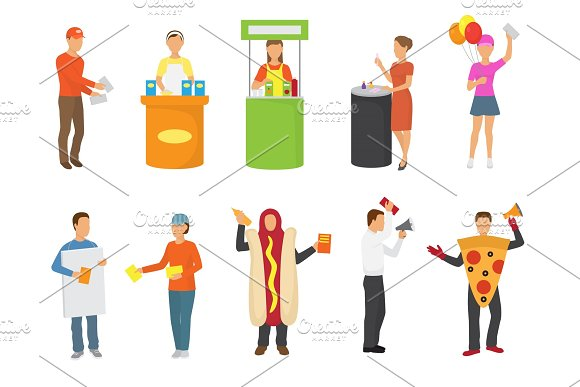 Advertising People Vector Advertiser Or Promoter Character Promoting Advertisement On Promo Stand Or Illustration Set Of Man In Costume Distributing Advertised Flyers Isolated On White Background
