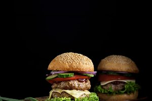 double burger with vegetables