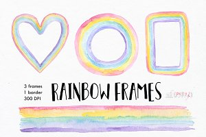 Rainbow digital frames. Watercolor
