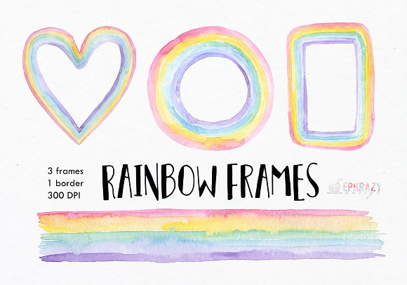 Rainbow Digital Frames Watercolor