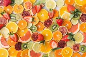 Cut oranges, lemons, tangerines