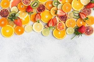 Cut oranges, lemon slices limes