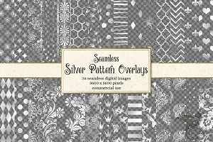 Silver Foil Pattern PNG Overlays