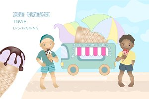 Summer vector / ice cream van & kids