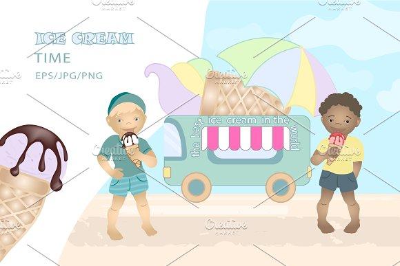 Summer Vector Ice Cream Van Kids