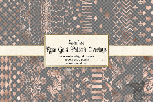 Rose Gold Pattern Overlays