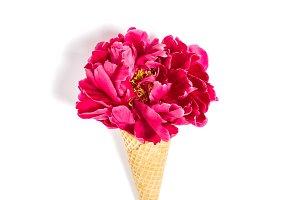 Peony flower ice cream waffle cone