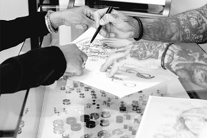 showing the tattoo drawing
