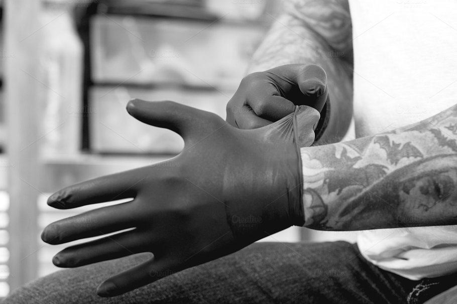 Tattoo Artist With Latex Gloves Beauty Fashion Photos Creative
