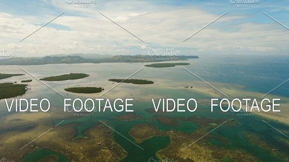 Aerial View Tropical Lagoon Sea Beach Tropical Island Bohol Philippines