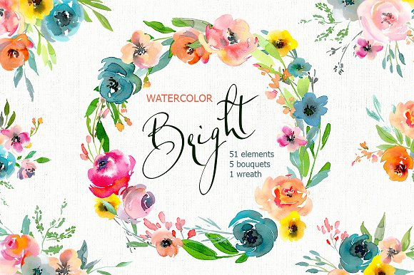 Bright Watercolor Flowers Bouquets