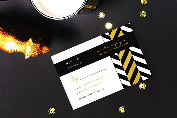 Chevron Invitation Card Set