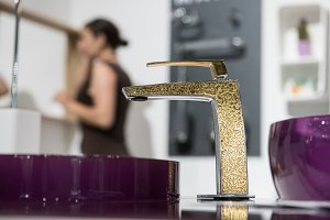 sink and golden faucet