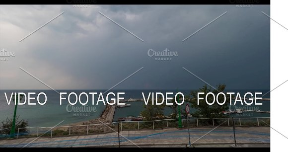 Timelapse Of Cloudscape Sea And Quay In Greece