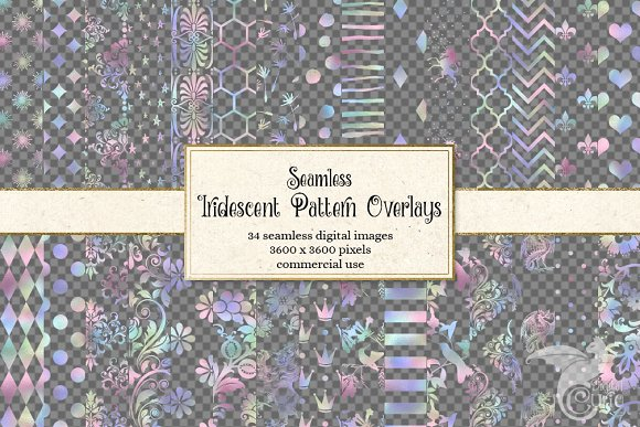 Iridescent Rainbow Pattern Overlays