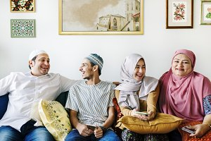 Muslim family spending time together