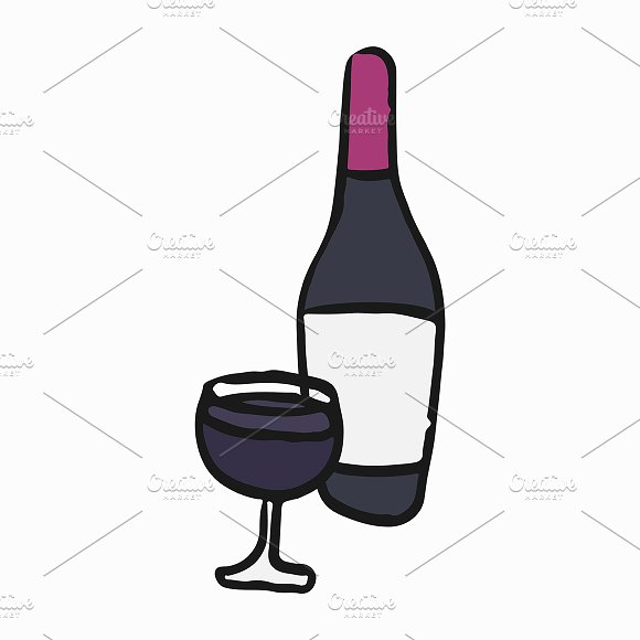French Red Wine Illustration