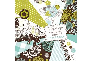 Scrapbook Papers set, retro patterns