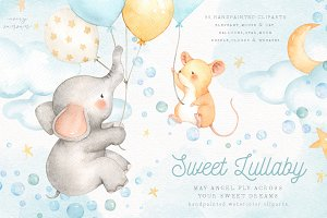 Sweet Lullaby V.2 Watercolor Clipart