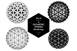 Set of 4 Geometric Spheres
