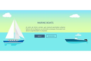 Marine Boats Web Banner with Text, Yacht Sailboat