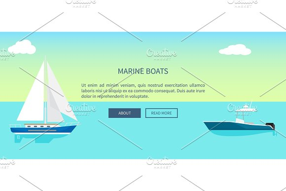 Marine Boats Web Banner With Text Yacht Sailboat