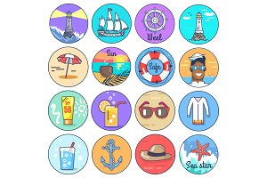 Set of Icons Depicting Multiple Marine Items