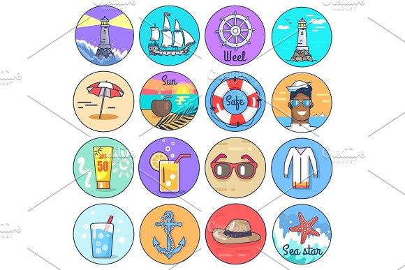 Set Of Icons Depicting Multiple Marine Items