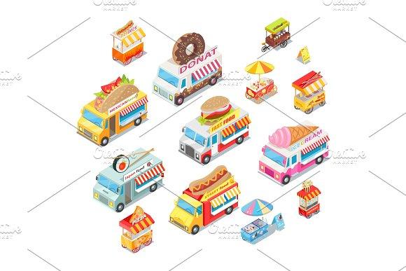 Street Food Eateries On Wheel Isometric Vector Set