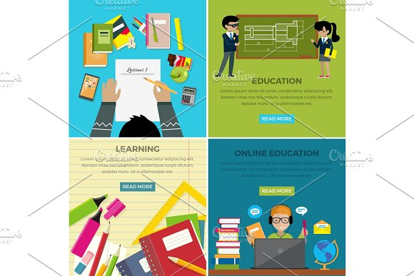 Learning And Online Education Lesson Web Banner