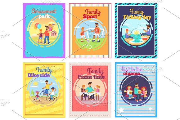 Father Spends Time With Children Illustrations Set
