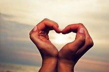 Heart shape in woman's hands