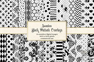 Black Pattern PNG Overlays