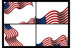 USA flag wave banner background