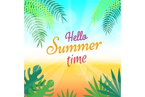 Lovely Summer Promotional Poster with Green Palms