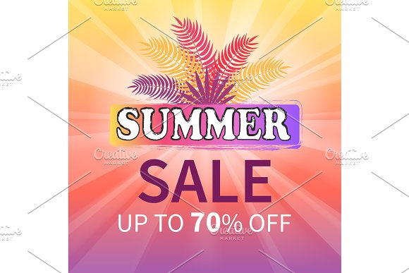 Summer Sale Up To 70% Off Colorful Illustration