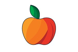 Color vector illustration. Red Apple
