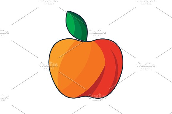 Color Vector Illustration Red Apple